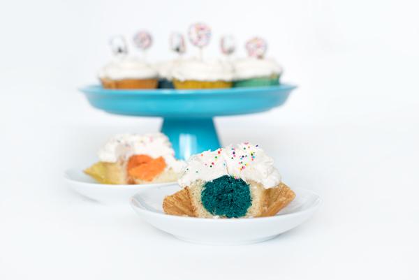 Party Cupcake Recipe Ideas - Colorful Stuffed Vanilla Cupcakes