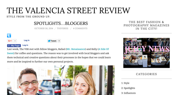 The Valencia Street Review - Spotlight Bloggers