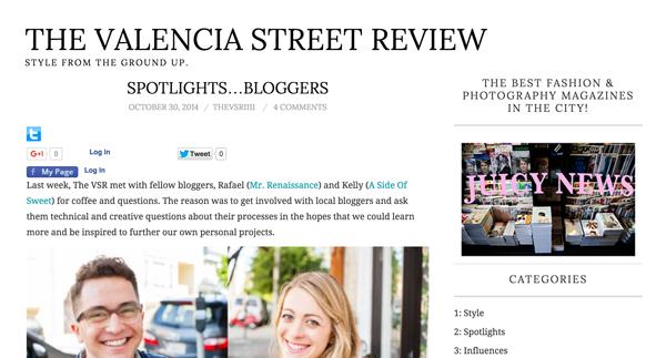 The Valencia Street Review - Spotlight Bloggers