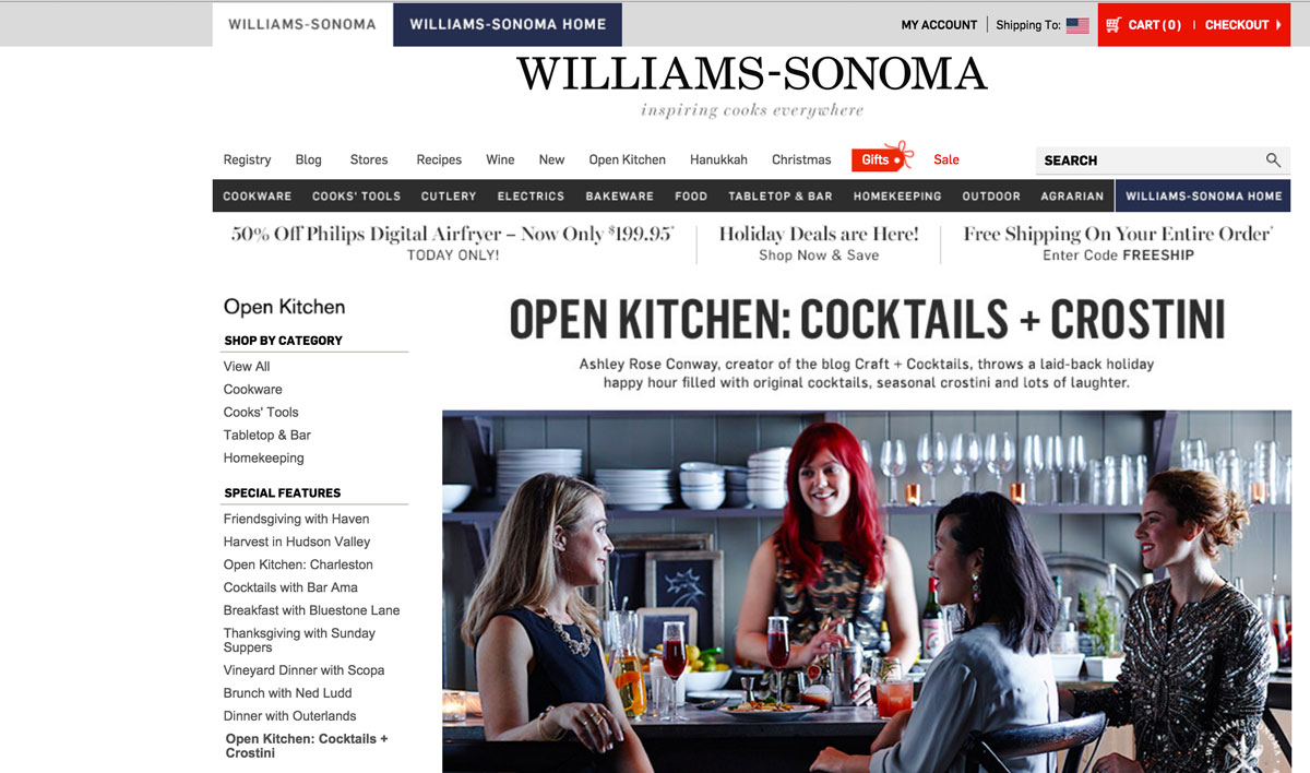 Williams Sonoma Open Kitchen Cocktails & Crostinis