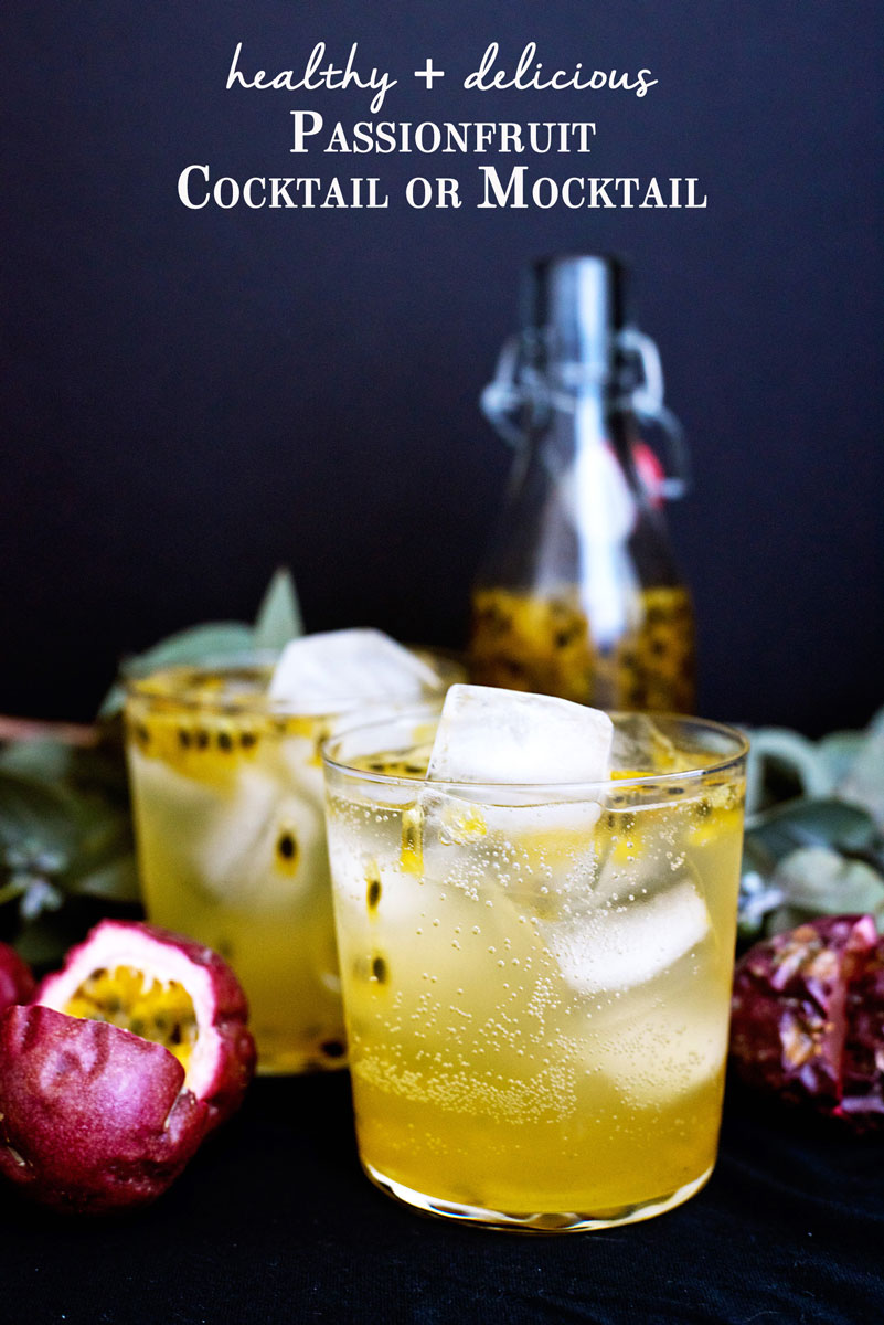 Gorgeous passionfruit cocktail recipe. It's also vegan, gluten free and makes a great mocktail!