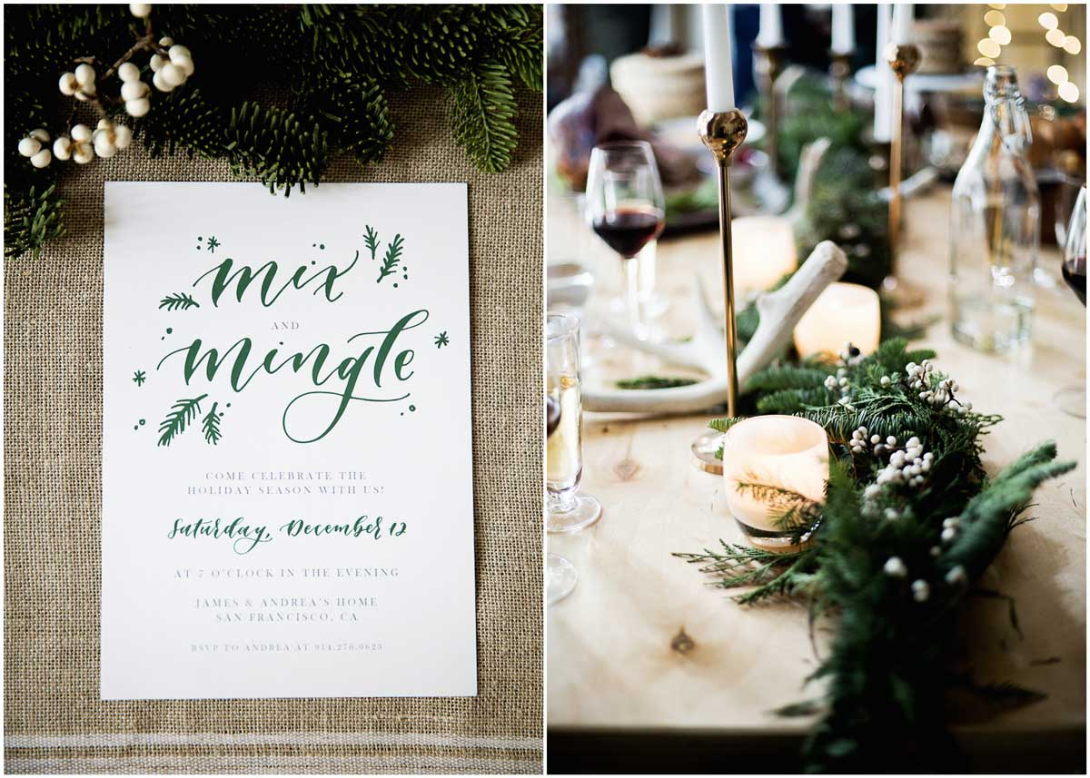 LOVE this holiday winter cocktail holiday party design with menu idea!