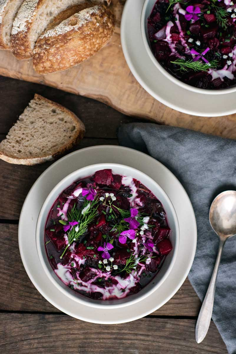 How to Make Borscht Soup - a healthy beet soup recipe with apples and fresh herbs