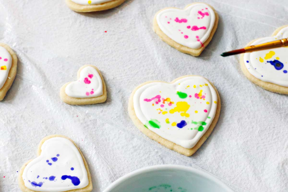 Colorful Splatter Paint Heart Cookies A Side Of Sweet