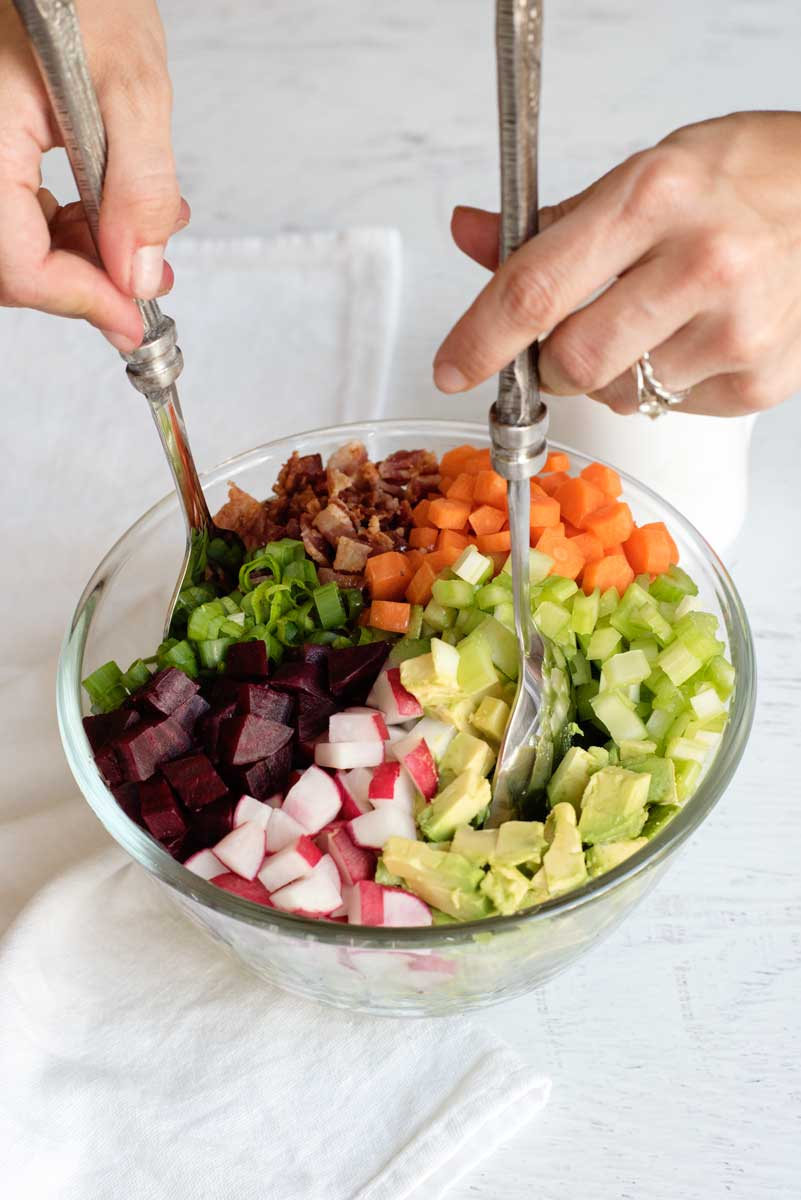 Delicious and Healthy Chopped Salad Recipe with Beets, Carrots, Avocado, Radishes and Dijon Vinaigrette