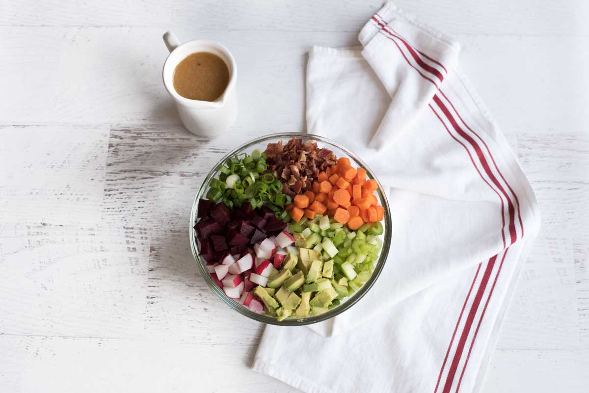 Healthy Chopped Salad + Dijon Vinaigrette - A Side of Sweet