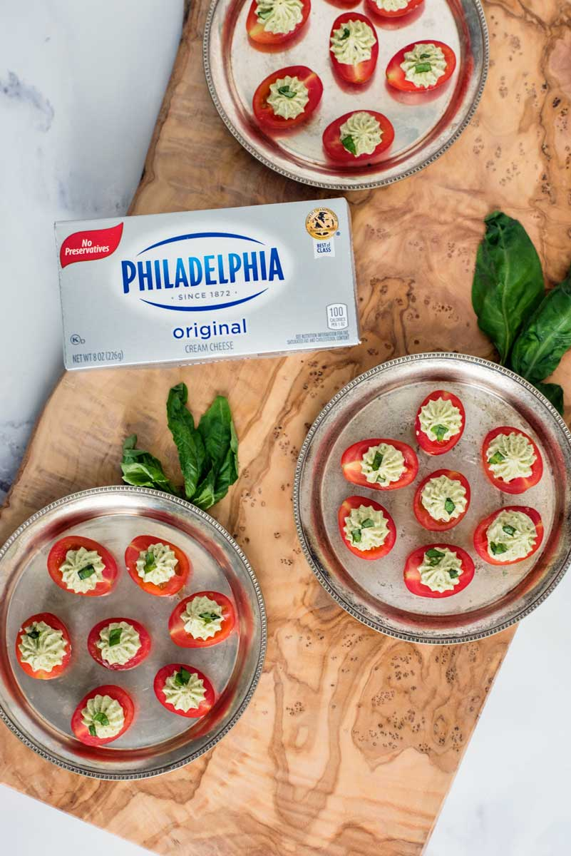 Amazing Appetizer Recipe Pesto Cream Cheese Stuffed Cherry Tomatoes