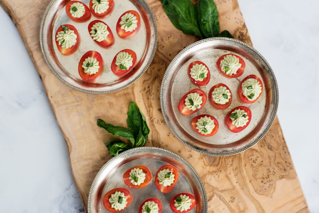 Amazing Appetizer Recipe :: Pesto Cream Cheese Stuffed Cherry Tomatoes