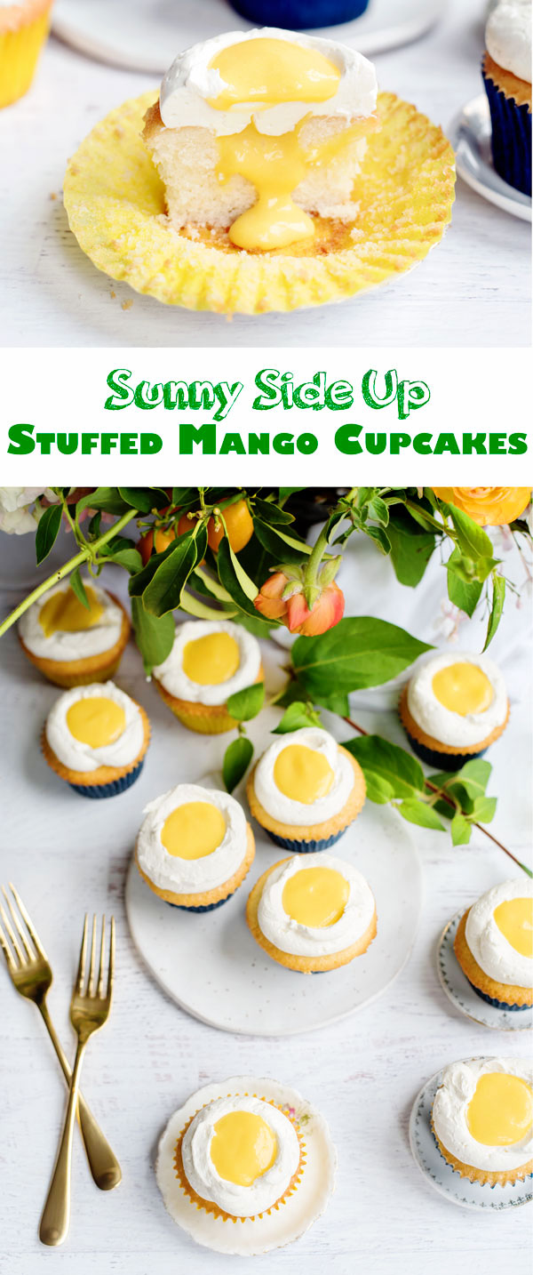 Amazing Stuffed Mango Cupcakes that look like sunny side up eggs! Perfect for a farm-themed party.