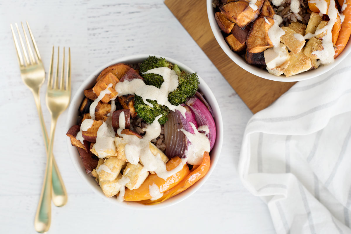 Healthy Vegetarian Gluten Free Buddha Bowls with Sweet Potatoes and a Secret Ingredient - Algae Oil!