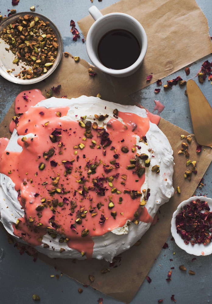 Pistachio Pavlova with Rhubarb Curd Recipe - a beautiful and easy to make dessert!
