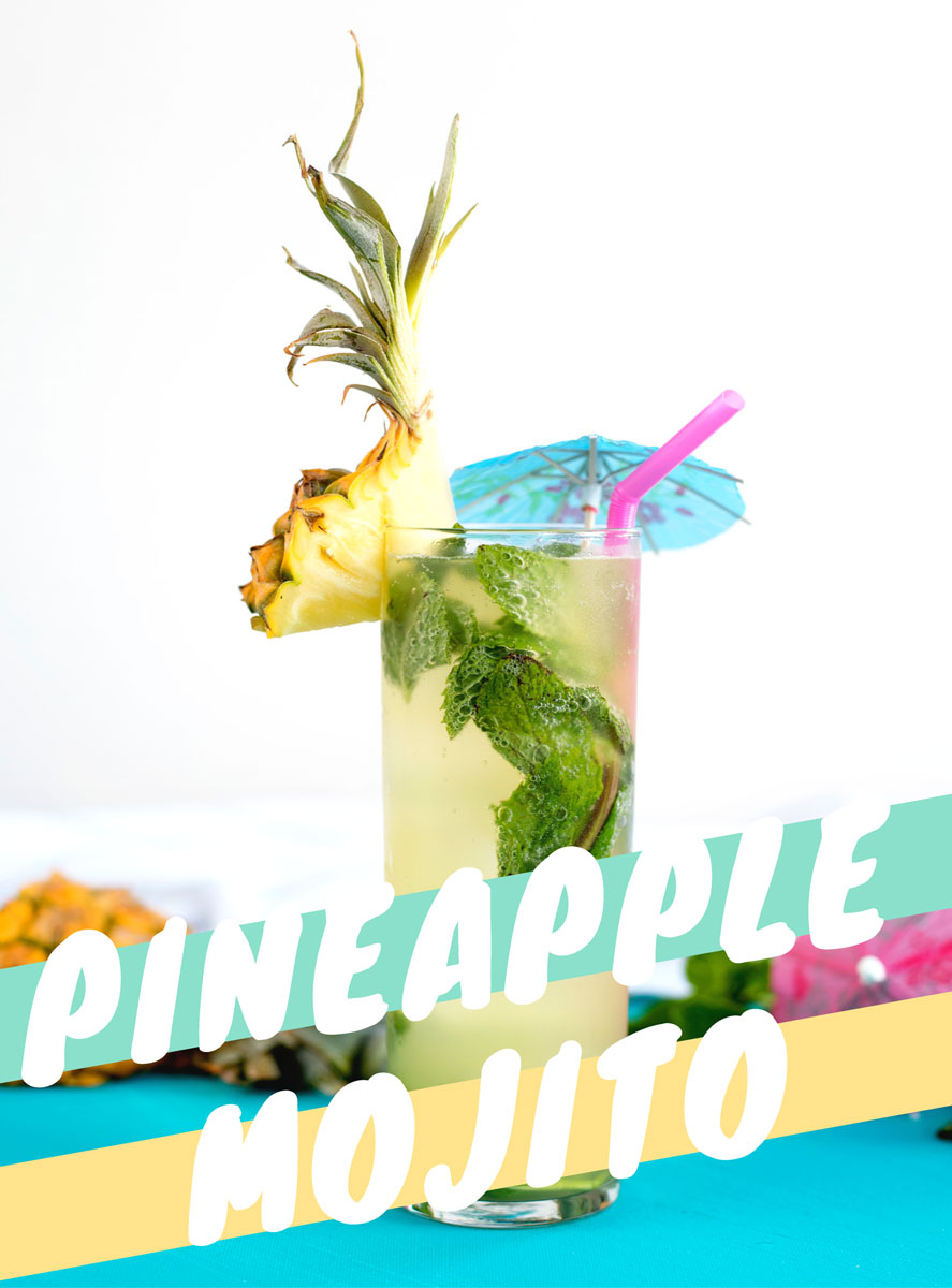 Hello Summer! This easy pineapple mojito cocktail recipe is SO good! Plus there's a mocktail or nojito recipe