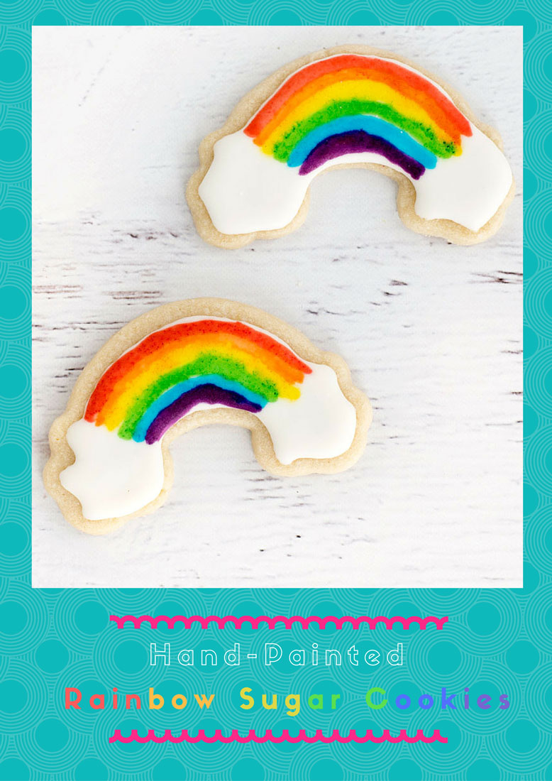 How to Make Colorful Painted Rainbow Sugar Cookies. Perfect for a birthday, Pride or LGBTQ awareness.