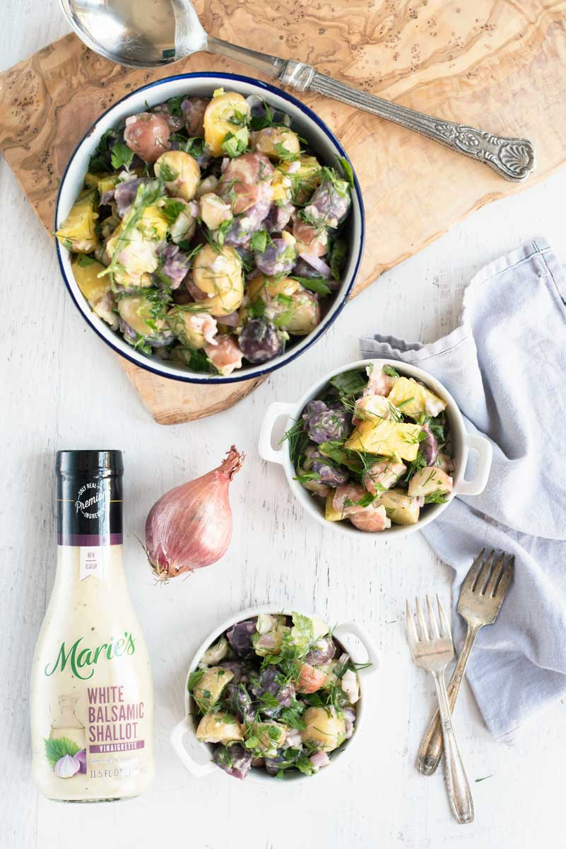 Easy Lightened Up Potato Salad Recipe with Golden Beets and Shallots