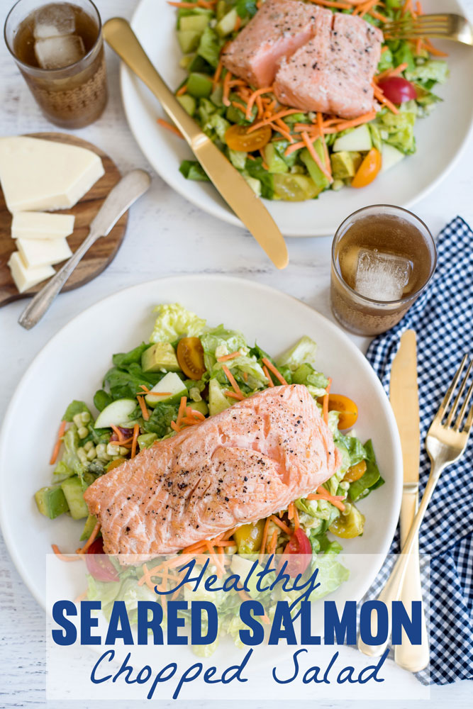 Need a Dinner Idea? Make this Healthy Seared Salmon Chopped Salad Recipe with Avocado, Blue Cheese, Tomatoes and Lime Vinaigrette
