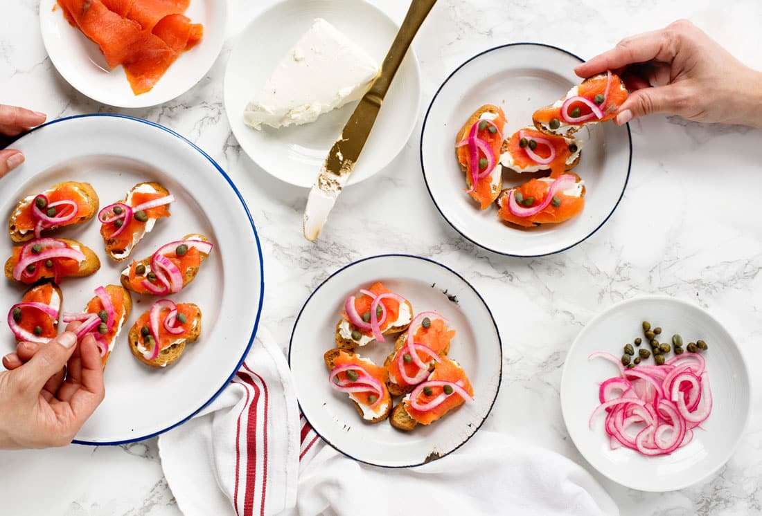 Creative Crostini Recipes - Lox & Bagel Crostini Recipe with Cream Cheese and Pickled Red Onions