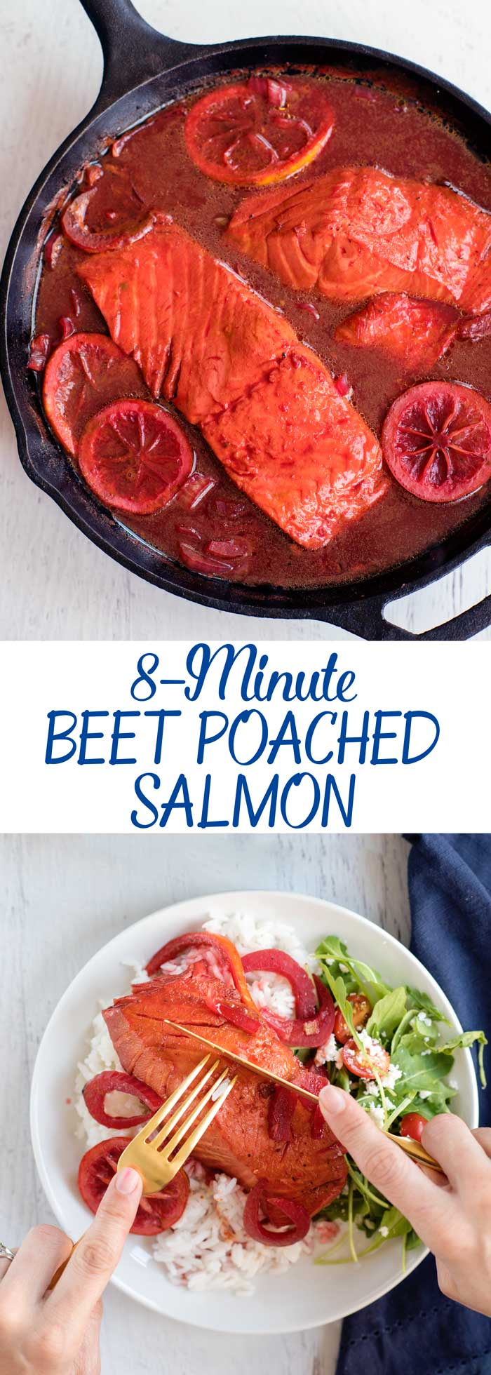 Unique Fish Recipes - Beet Juice Poached Salmon with Rice