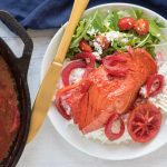 Easy 8-Minute Dinner Idea - Beet Juice Poached Salmon with Rice