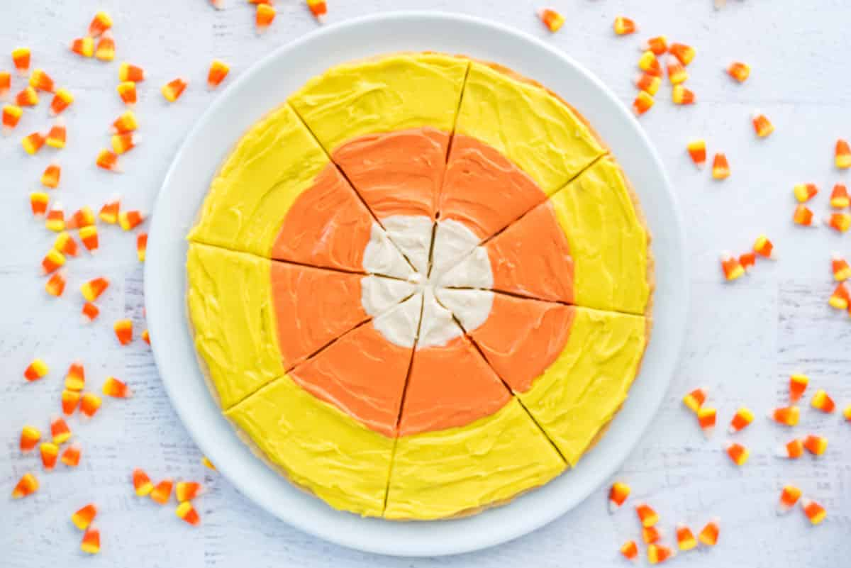 Fun Halloween Party Recipes - Candy Corn Dessert Pizza from Sugar Cookies!