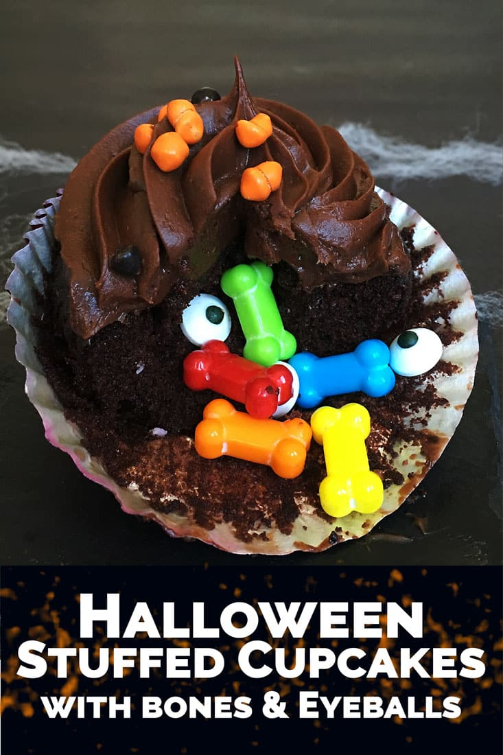 Fun Halloween Desserts Recipe Idea - DIY Stuffed Halloween Cupcakes with Bones and Eyeballs! A great Halloween food party treat!