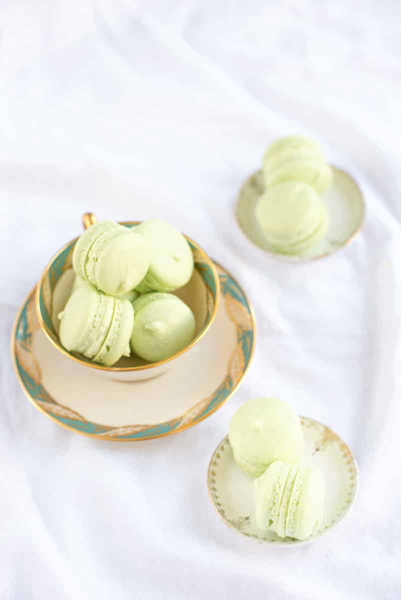 Beautiful Wedding Cake Inspiration - Pale Green Cake with French Macarons and Meringues