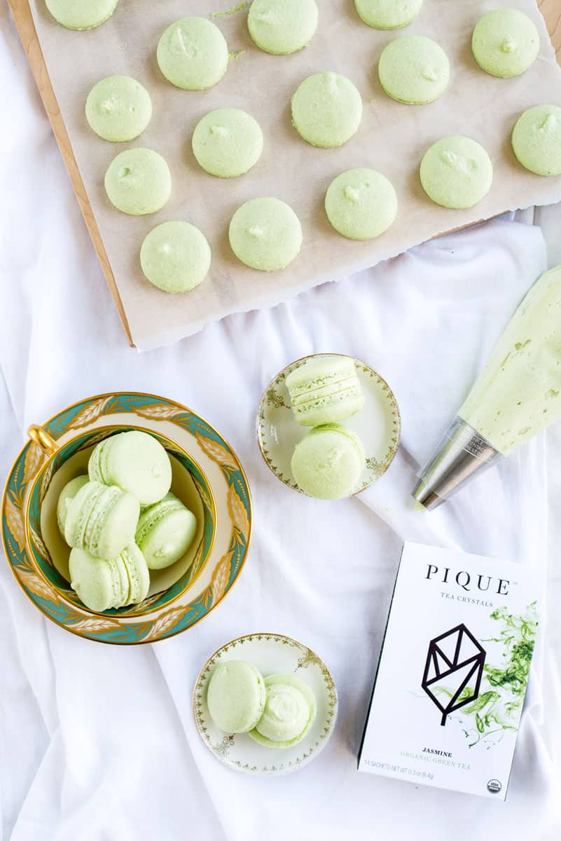 Green Tea French Macarons with Easy Green Tea Buttercream Filling Recipe!