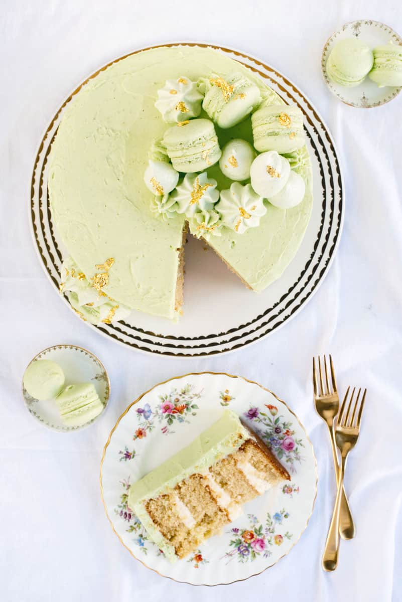 Beautiful Wedding Cake Inspiration - Best Vanilla Cake and Vanilla Frosting for a Pale Green Cake with French Macarons and Meringues