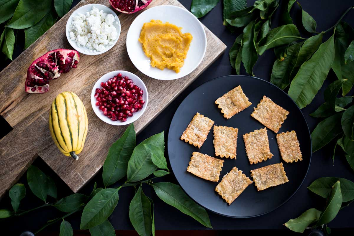 Easy Appetizer Idea - Baked Lasagna Crackers with Delicata Squash, Feta and Pomegranates Recipe