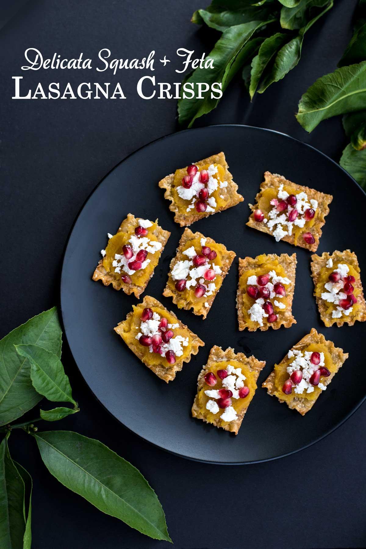 Easy Appetizer Idea - Baked Lasagna Crisps with Delicata Squash, Feta and Pomegranates Recipe