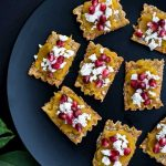 Easy Appetizer Idea - Baked Lasagna Crisps with Delicata Squash, Feta and Pomegranates Recipe