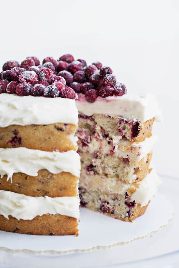 Amazing rustic layered cranberry orange holiday cake recipe - perfect for a Christmas wedding!