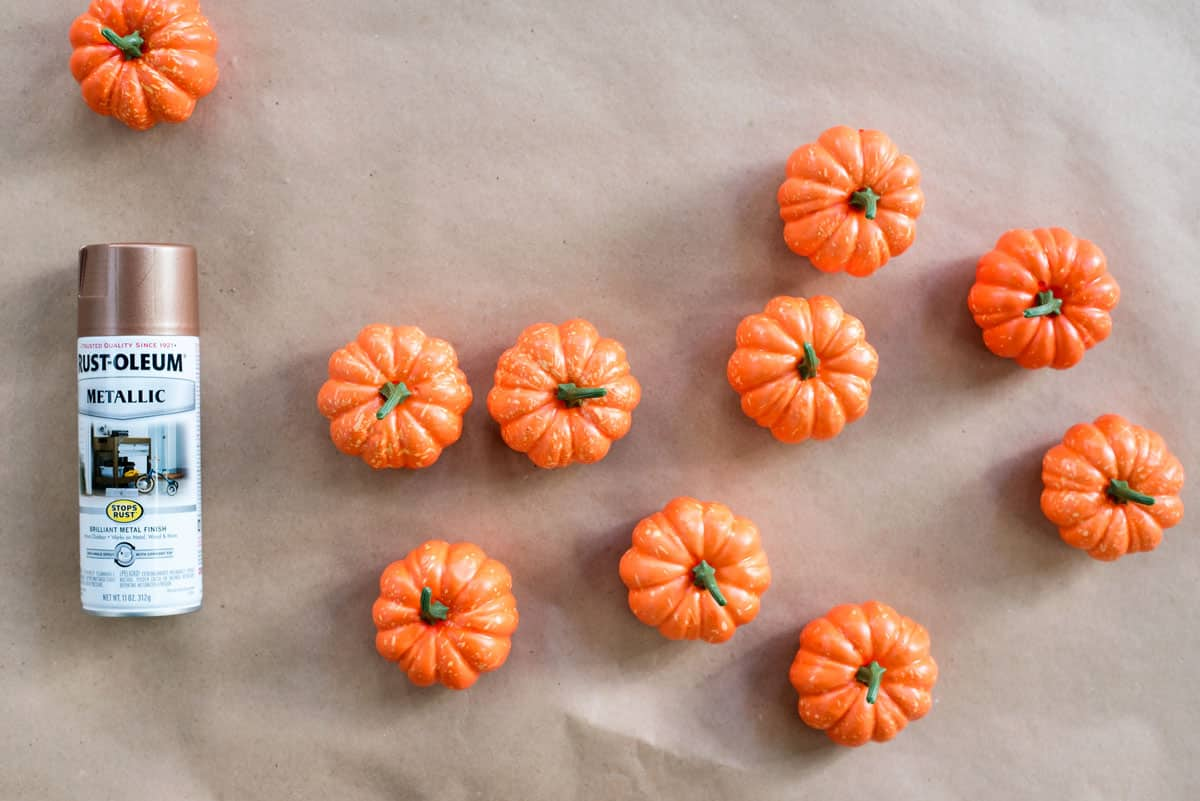 Spray Painted Copper Pumpkins DIY to decorate your Thanksgiving Table