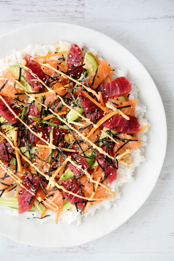 Recipe makeover healthy sushi pizza a side of sweet for Whole foods sushi grade fish