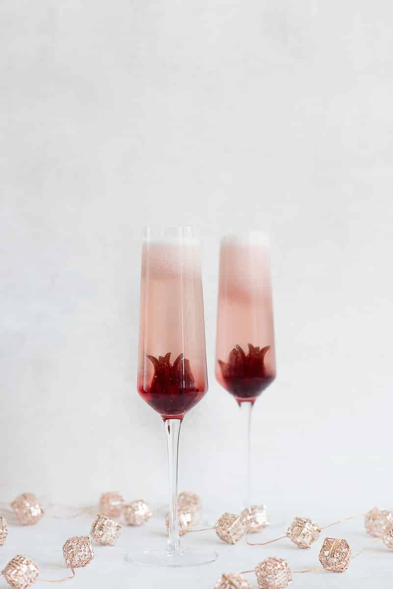 Ombre Hibiscus Prosecco Cocktail Recipe with Whole Hibiscus Flowers