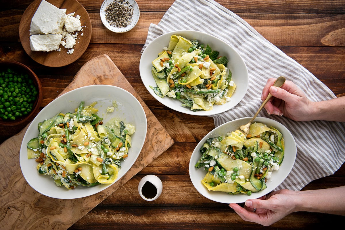 Healthy Spring Zucchini Noodle Pasta Recipe with Asparagus, Peas and Feta