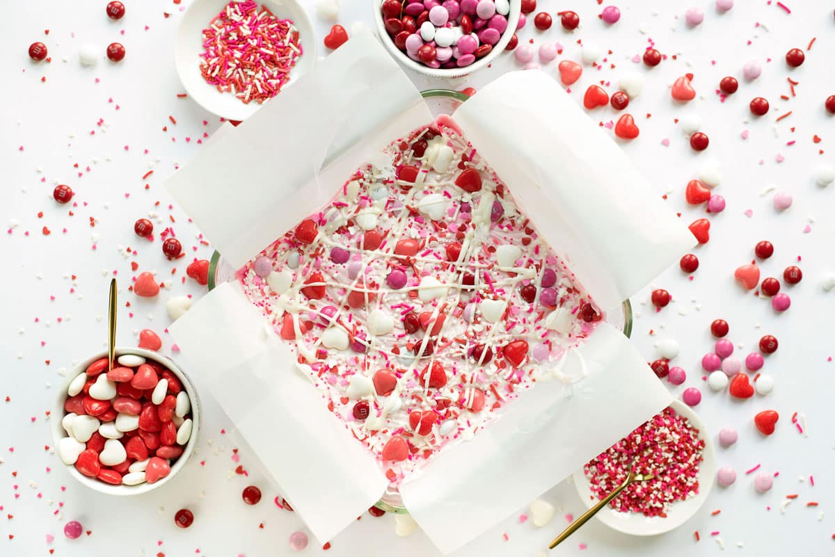 Valentine's Candy Bark recipe with White Chocolate and Sprinkles