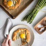 Savory Breakfast Asparagus Goat Cheese Galettes Recipe topped with Egg