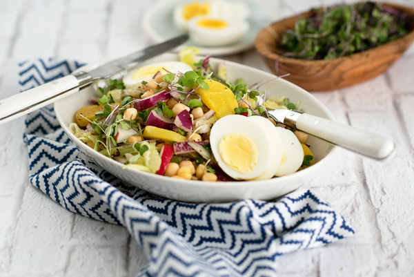 Healthy Chickpea Salad Recipe with Beets, Celery, Red Onions and Egg