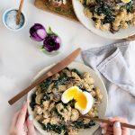 Kale mushroom pasta recipe with soft boiled egg