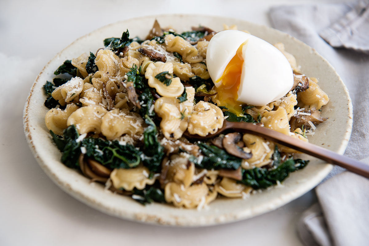 Kale mushroom pasta recipe with soft boiled egg