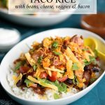 Okinawa Japan Taco Rice Recipe with Black Beans, Cheese, Tomatoes and BACON!