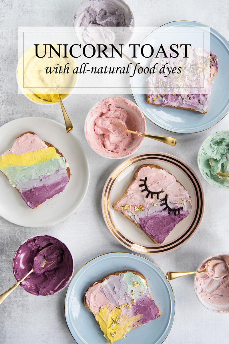 Unicorn toast with natural food dyes a side of sweet rainbow unicorn toast recipe made with natural food dyes perfect for a unicorn party forumfinder Image collections