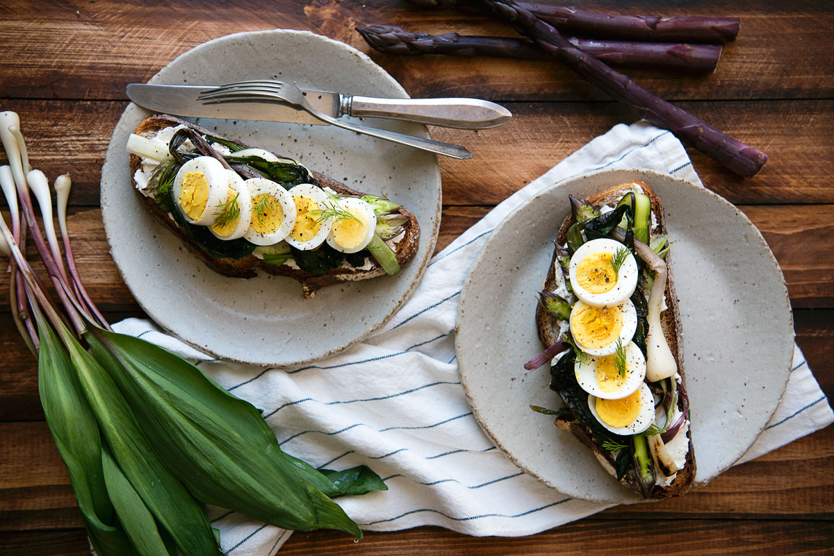 Open Faced Gourmet Breakfast Sandwiches Recipe with Ramps, Asparagus & Lebneh