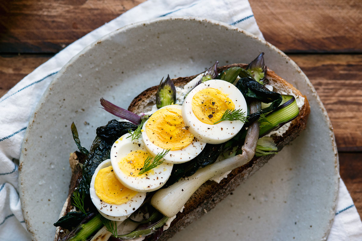Gourmet Breakfast Sandwich Recipe - Tartine with Ramps, Asparagus & Lebneh