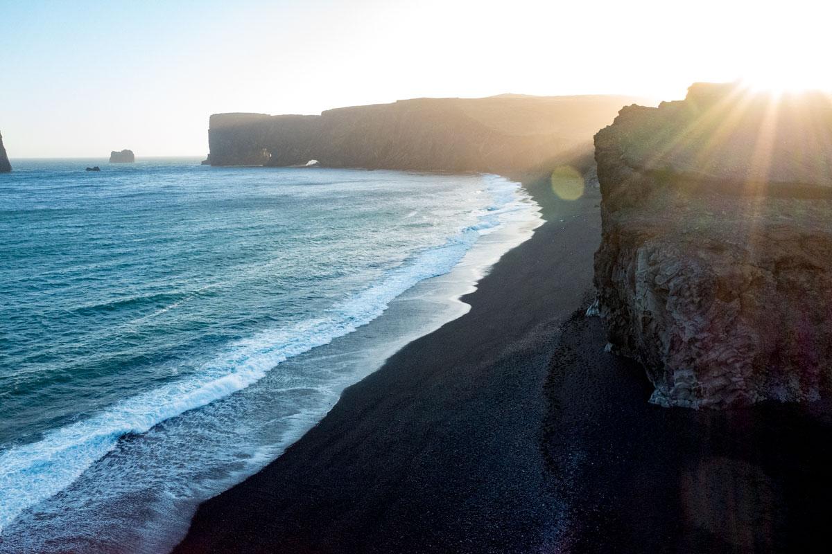 Black Sands Beach South Coast Iceland Basalt Columns