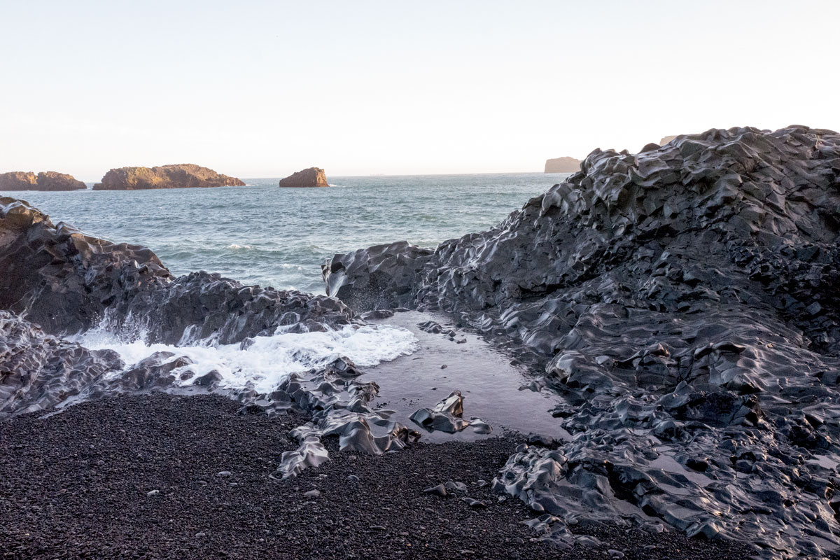 Black Sands Beach South Coast Iceland Basalt Columns