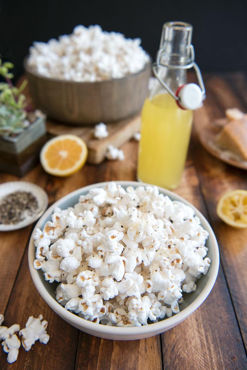 Easy Lemon Parmesan Popcorn Recipe with Infused Meyer Lemon Algae Oil