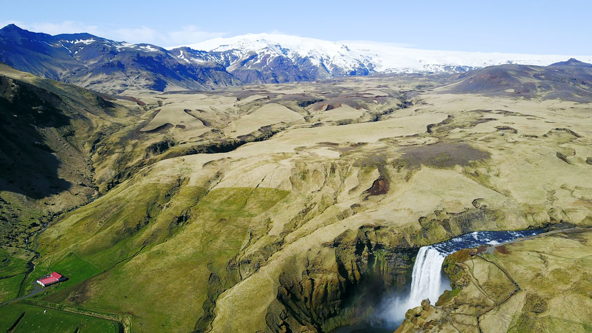 Iceland Overhead Drone Footage Skogafoss Waterfall