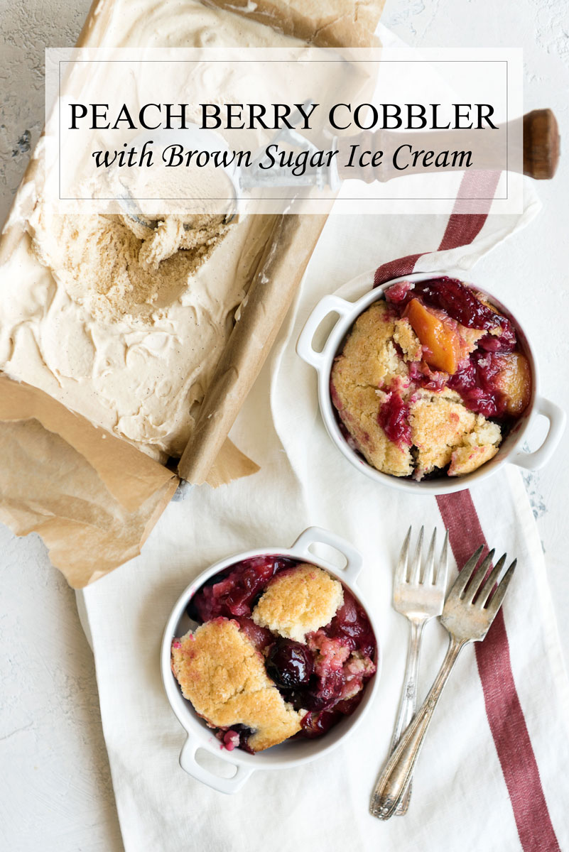 Peach Berry Cobbler recipe with Cherries & Plums too! Topped with Brown Sugar Ice Cream