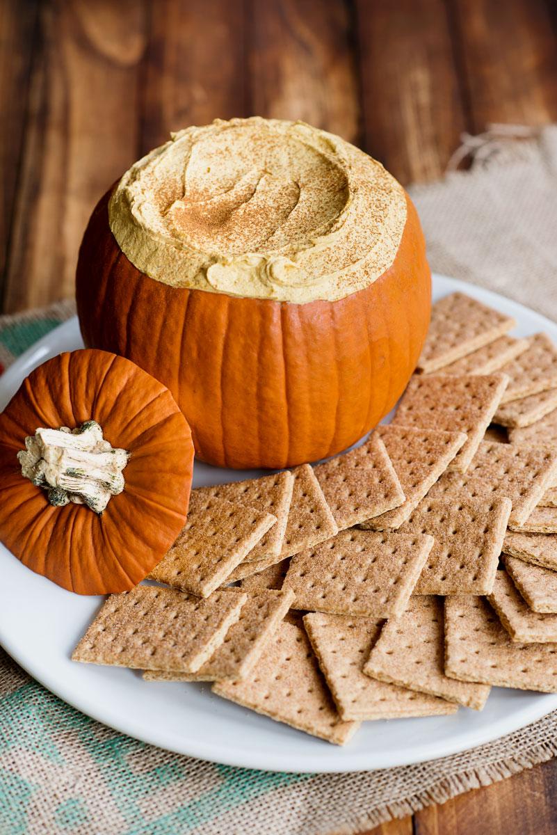 Easy Pumpkin Fluff Dip Recipe Served in a Pumpkin